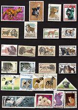 137T3 TOUS PAYS lot de 25 timbres oblitérés : Chiens et chats