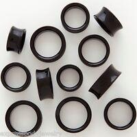 1 PAIR Large Black Acrylic Ear-Plugs Saddle Tunnels-Gauges Double Flare Glossy