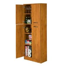 Tall Pantry Cabinet Cupboard 4 Door 5 Shelf Storage Garage Kitchen Country Pine