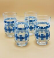 Vintage Plaid Blue White Stackable Juice Glasses Glass Tumblers Set of 4