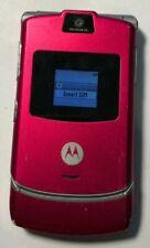 READ BEFORE Motorola RAZR V3 Magenta T-Mobile Cell Phone Very Good Used