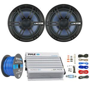 "Enrock EC1865BM 6.5"" Marine Speakers, Pyle 400W Bluetooth Amplifier and Kit"