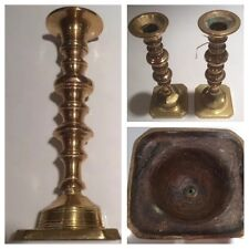 Antique Pair Early 19th Century Faceted Brass Candlesticks 8� (D56)