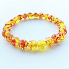 Stretch Beaded Bracelet Unisex Shan Yellow/Red Natural Round Healing Crystal