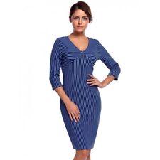 """""""Ainslee"""" Womens Size 12-14 Rich Quality Blue Black Stripe Stretch Bodycon Dress"""