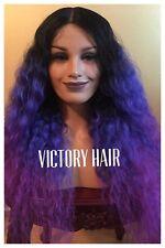 Purple Ombré Wavy Mix lace front wig. human Hair Blend