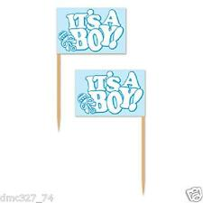 50 BABY SHOWER Party Food Cupcake Hors D'Oeuvers Blue IT'S A BOY PICKS