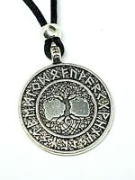 Viking Tree of Life Rune Yggdrasil  Pendant Elder Futhark Beaded Cord Necklace