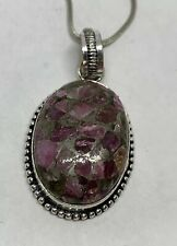 925 Sterling Silver Created Purple Black Grey Stone Pendant Necklace Pre Owned