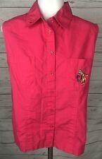 DISNEY Hot Pink Tigger Sleeveless Button Down Shirt Womens Size Large L