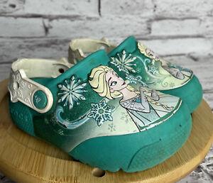 Crocs Frozen Clogs Toddler 8 C Shoes Light Up Elsa Anna Rubber USED Works
