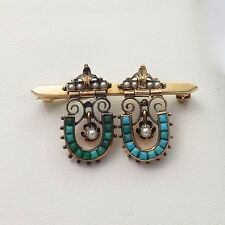 Victorian 14k Gold Horseshoe Turquoise Pearl Bar Brooch Pin 4.7gr