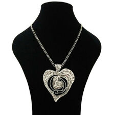 LARGE SILVER ABSTRACT METAL HEART PENDANT LONG CURB CHAIN LAGENLOOK NECKLACE
