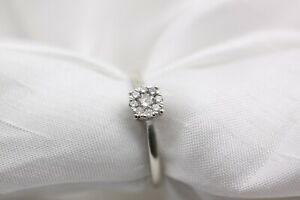 9ct White Gold 0.25ct Diamond Cluster 2.1g Size T Ring - 0144074