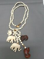 "Miriam Haskell Hand Carved Elephant Necklace Cream/Brown 30"" -- Free Ship!"