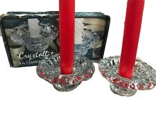 Set Of 2 Crystal Candle Holders Holds Many Different Sizes Of Candles