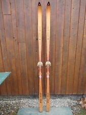 """New listing Beautiful Old Vintage Wooden 83"""" Snow Skis Has Blond Patina Finish Decoration"""