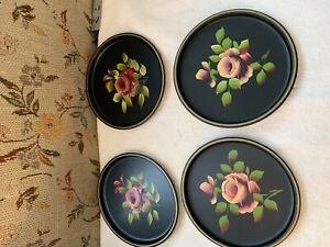 4 VINTAGE FARMHOUSE RUSTIC TOLE PAINTED TIN METAL PLATES TRAYS SHABBY CHIC ROSE