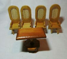 VINTAGE DOLLS HOUSE MINIATURE FURNITURE 4 MESH BACK CHAIRS & TABLE BLONDE WOOD