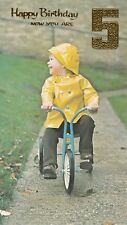 Vintage 1970's Happy 5th Birthday Greeting Card 5 Years Old ~ Tricycle Boy