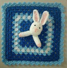 HANDMADE CROCHET BABY BUNNY BLUE AND WHITE COMFORTER BLANKET 28cm x 28 cm