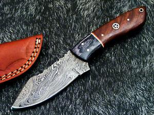 """DAMASCUS STEEL 8.0"""" HANDMADE FULL TANG SKINNING KNIFE - HARD WOOD - TM-9308"""