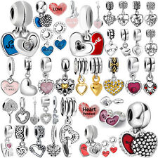 European Silver Heart Pendant Charms Bead for 925 Sterling DIY Bracelet Necklace