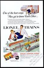 1954 Lionel electric toy train set father son color art vintage print ad