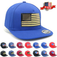 Snapback Hats with USA Flag for Mens Cotton Flat Brim Caps Classic Style Hat