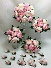 Light Pink/Pink Peony Artificial Silk Flowers Bridal Wedding Bouquet Set