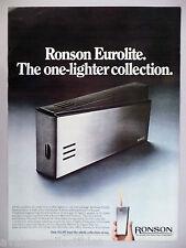 Ronson Eurolite Cigarette Lighter PRINT AD - 1969