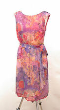 L191/14 Monsoon Silk Multicolor Floral Sleevless Romantic Dress, UK 12 Euro 40