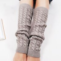 Women Elastic Winter Warmer Knit Leg Knee High Sock Leg warmer Light Grey Great