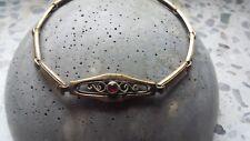 Jugendstil Damen Armband AH um 1900 Double gold Stein rot Rubin? 19 cm*AB4