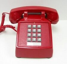 Cortelco 250047-VBA-20MD Vintage Style Corded Desk Phone Red Retro Telephone