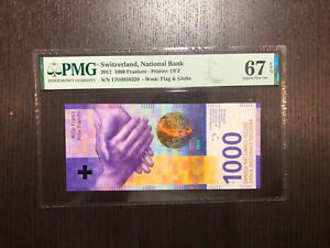 Switzerland National Bank 2017 1000 Franken PMG 67 EPQ
