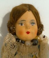 "Vintage 1930s 11"" Cloth Body w/ Papier Mache Shoulder Head Doll Traditional"