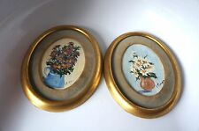 SMALL VINTAGE OVAL  PAINTINGS: SET OF 2 BY D. KLINGER