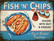 Vintage METAL Plaque FISH N CHIPS British UK Seaside KITCHEN poster print SIGN