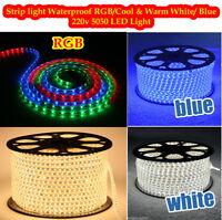 LED Strip 220V 240V IP67 Waterproof 5050 Commercial Lights Rope White Warm, Blue