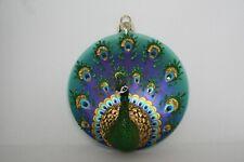 NEW Pottery Barn / Williams-Sonoma Glass Peacock Christmas Holiday Ornament