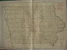 1922 LARGE AMERICA MAP ~ IOWA SHOWING RAILROADS PRINCIPAL CITIES ~ RAND MCNALLY