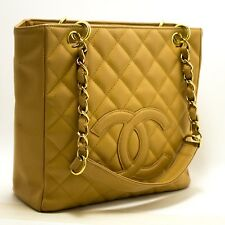 CHANEL Authentic Caviar PST Chain Shoulder Bag Shopping Tote Beige Quilted p88