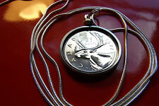 """BU 1977 Canada Caribou Quarter Mint Coin Pendant on 30"""" .925 Silver Snake Chain"""
