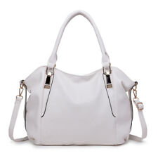Ladies Celebrity Handbag PU Leather Slouchy Hobo Tote Shoulder Bag Soft White