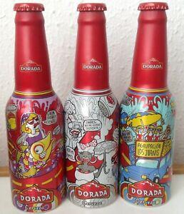 """Set de 3 botella aluminio Cerveza """"Dorada"""" edición limitada 33cl, España"""