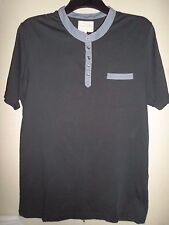 RIVER ISLAND MENS NAVY TOP WITH LIGHT BLUE TRIM SIZE L (36-38)