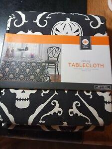 Halloween  Skeleton Silver heavy Fabric Tablecloth 60 x 84 oblong