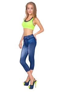 Womens Cropped Denim Look Leggings Slimming Effect High Waist Size S-XL FS6702