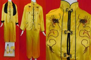 Vintage Japanese Yellow Gold Couching Embroidery Dragon Pajama WWII Souvenir Set